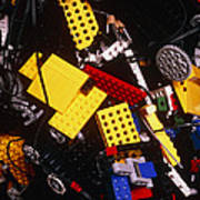 Assorted Lego Bricks And Cogs. Art Print by Volker Steger