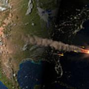 Asteroid Approaching Earth Art Print by Joe Tucciarone Library