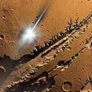 Asteroid Impact On Mars, Artwork Art Print by Detlev Van Ravenswaay