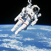 Astronaut Floating In Space Art Print