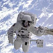 Astronaut Gernhardt On Robot Arm Art Print