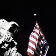 Astronaut Stands Next To The American Art Print