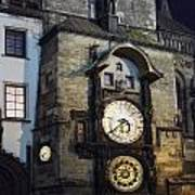 Astronomical Clock At Night Art Print