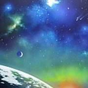 Auroa Borealis From Space Art Print
