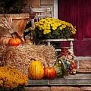 Autumn - Gourd - Autumn Preparations Art Print by Mike Savad