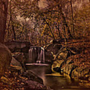 Autumn At The Waterfall In The Ravine In Central Park Art Print