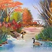 Autumn Geese Art Print by Crispin  Delgado
