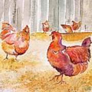 Autumn Hens Art Print