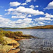Autumn Lake Shore Art Print