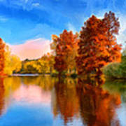 Autumn On The Lake Art Print