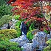 Autumn Waterfall - Digital Art Art Print