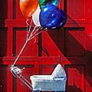 Baby Buggy With Balloons  Art Print