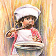 Baby Cook With Chocolade Cream Art Print