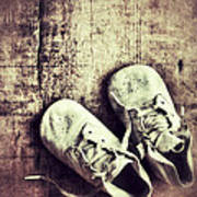 Baby Shoes On Wood Art Print