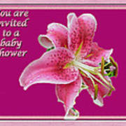 Baby Shower Invitation - Pink Stargazer Lily Art Print