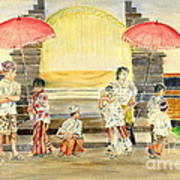 Balinese Children In Traditional Clothing Art Print