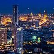 Bangkok Capital City Of Thailand Nightscape Art Print by Arthit Somsakul