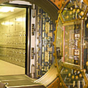 Bank Vault Doors Leading To Safety Deposit Boxes Art Print by Adam Crowley