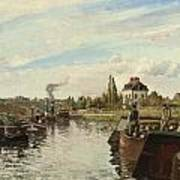 Barge On The Seine At Bougival Art Print by Camille Pissarro