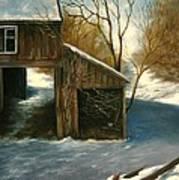Barn In The Snow Art Print
