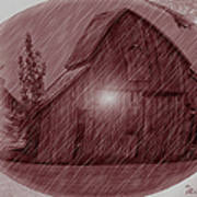 Barn Snow Globe Art Print