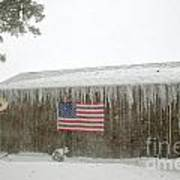 Barn With American Flag During Blizzard Of '05 On Cape Cod Art Print