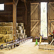 Barn With Hay Bales And Farm Equipment Art Print by Elena Elisseeva