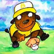 Baseball Dog 3 Art Print