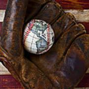 Baseball Mitt With Earth Baseball Art Print