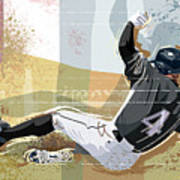Baseball Player Sliding Into Base Art Print