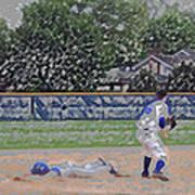 Baseball Playing Hard Digital Art Art Print