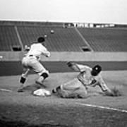 Baseball. Ty Cobb Safe At Third Print by Everett