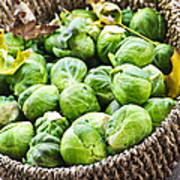 Basket Of Brussels Sprouts Art Print