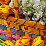 Basket Of Spring Flowers Art Print