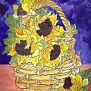 Basket Of Sunflowers Art Print