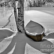 Bath And Snowy Rowboat Art Print by Ari Salmela