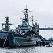 Battleships And Tugboat Art Print