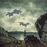 Bay Scene In Moonlight Art Print