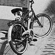 Beach Bike - Black And White Art Print