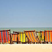 Beach Chairs Colorful  Art Print