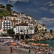 Beach Scene In Amalfi On The Amalfi Coast In Italy Art Print