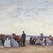 Beach Scene Near Trouville Print by Eugene Louis Boudin