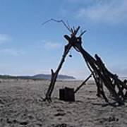 Beach Shelter Skeleton Art Print