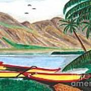 Beached Catamaran Boats Art Print