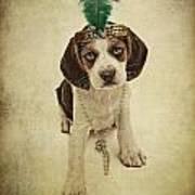 Beagle Puppy Flapper  Art Print
