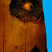 Bear In Log Art Print