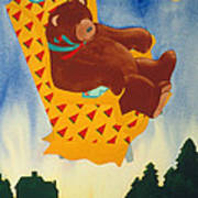 Bear Loved Flying Over The Forest In His Favorite Chair Art Print