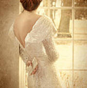 Beautiful Lady In Sequin Gown Looking Out Window Art Print