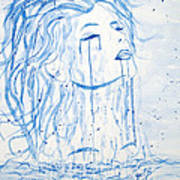 Beautiful Sea Woman Watercolor Painting Art Print by Georgeta  Blanaru