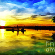 Beautiful Sunset Art Print by Vidka Art